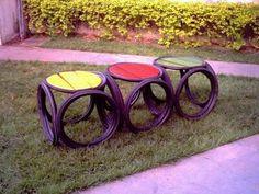Mesas de jardim com pneus