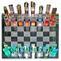 French Multi Colored Laminated Lucite Chess Set 1960's | From a unique collection of antique and modern tableware at http://www.1stdibs.com/furniture/dining-entertaining/tableware/