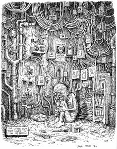 Robert Crumb is the master of black and white lovely stuff and the not so lovely stuff. 'The little guy that lives inside my brain. Robert Crumb, Underground Comics, Comic Book Artists, Comic Books Art, Comic Art, Gravure Illustration, Illustration Art, Fritz The Cat, Arte Punk