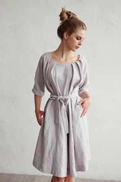 549c08f116 Linen dress with belt CORFU. Various colors available. Knee-length