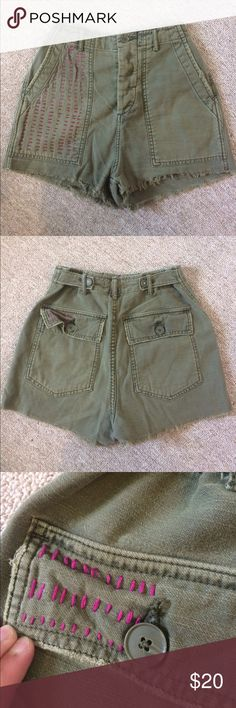 """bdg high waist vintage style shorts super cute high waist cotton shorts in a vintage military style! high waist, green comfy cotton fabric. super cute hand-embroidered detailing. waist measures 11.5"""" across, can be let out a bit to be a true 25"""" waist. Urban Outfitters Shorts"""