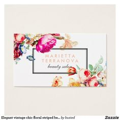 Elegant vintage chic floral striped beauty salon...Make the right impression & impress your customers! Get professional and creative business cards through Zazzle. Visit the link to save 15% on 2 packs OR find out if there are any promotions to help save! >>