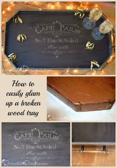 A Recreated Wood Serving Tray using Country Chic Paint in Chocolate Tart and Metallic Cream.