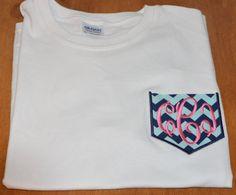 GIRLS Preppy Personalized Monogrammed long sleeve faux pocket frocket tee by TheMonogrammedMonkey