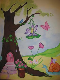 fairy garden wall mural by Mural Designs, via Flickr