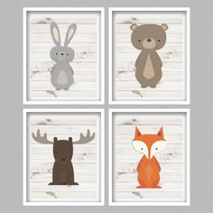 Forest Animals Digital Wall Art Prints Set of by PerfectlyMatched