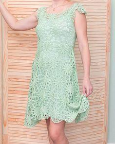 Crochet Skirt Green motifs dress Crochet pattern by STYLE_crocheting - Crochet Bodycon Dresses, Crochet Summer Dresses, Summer Dress Patterns, Black Crochet Dress, Crochet Skirts, Crochet Clothes, Crochet Tunic Pattern, Crochet Patterns, Crochet Designs
