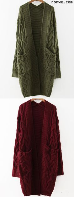 Cable Knit Front Pocket Long Sweater Coat