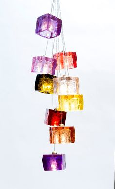 Cubes Pendant Light Fixture / Hand Made / Light Cubes are yellow, blue, green, red, purple, turquoise, orange, Brown & baby pink