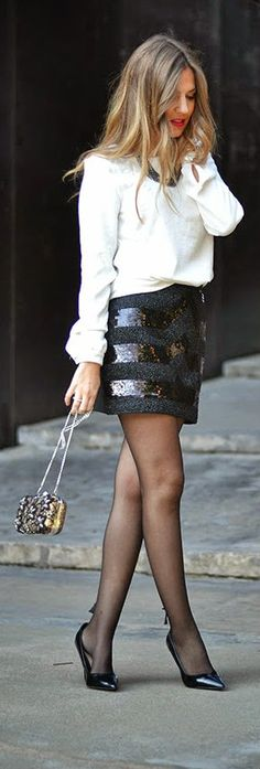 White Long Sleeve Blouse with Sequined Skirt,  Black Heels, and a Beaded Floral Clutch                                                                                                                                                                                 Más