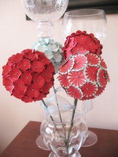 4 Globe Flowers Paper Flower Decoration Centerpiece by iecreations, $60.00