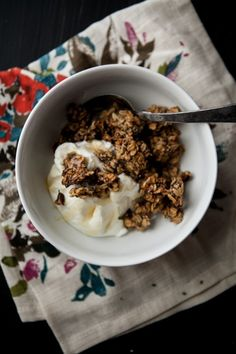 Roasted Banana-Nut Granola -- I replaced the oil with applesauce and that seemed to work really well for making it low-fat. This recipe is amazing, I'll definitely be making it again.