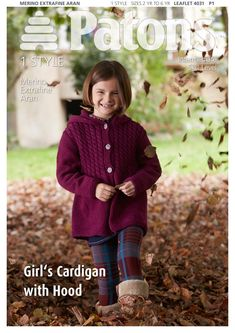 Girl's Cardigan with Hood in Patons Merino Extrafine Aran - Discover more Patterns by Patons at LoveCrafts. From knitting & crochet yarn and patterns to embroidery & cross stitch supplies! Shop all the craft materials you need to start your next project. Free Chunky Knitting Patterns, Baby Cardigan Knitting Pattern Free, Knitting For Kids, Knit Patterns, Knitting Projects, Loom Knitting, Knitting Ideas, Free Childrens Knitting Patterns, Stitch Patterns