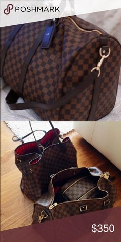 Louis Vuitton Keepall Duffle Bag PLEASE READ BEFORE YOU BUY! This isn't the real deal! This is more for if you want the look without paying the price! Louis Vuitton Keepall Duffle Bag. Color brown. Checkered. ARRIVED❤️ Louis Vuitton Bags Travel Bags