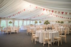 A classic clear span wedding marquee Wedding Bunting, Floral Wedding Decorations, Party Bunting, Marquee Wedding, Woodland Wedding, Pink Bunting, Flag Garland, Marquee Hire, Rainbow Theme