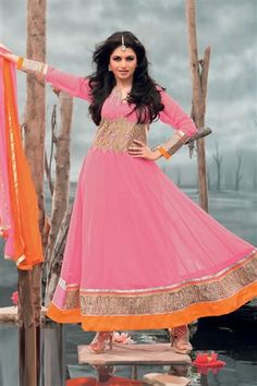 Eye-catchy Bhagyashree Designer Anarkali Dress