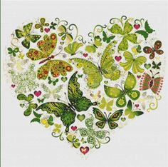 Cross Stitch Craze: Butterfly and Hearts Emerald Green