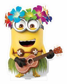 Hawaiian Minion with Guitar Mini Cardboard Cutout / Standee / Stand up - Buy standups & standees at starstills.com