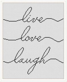 Good Images Cross Stitch modern Tips Cross stitch modern pattern Live Laugh Love embroidery easy Cross Stitch Bookmarks, Counted Cross Stitch Patterns, Cross Stitch Designs, Cross Stitch Embroidery, Hand Embroidery, Cross Stitch Needles, Embroidery Patterns, Machine Embroidery Thread, Cross Stitch Pattern Maker