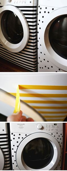 Stripes & Dots Makeover for White Goods   DIY Home Decorating on a Budget   DIY Projects for the Home Dollar Store