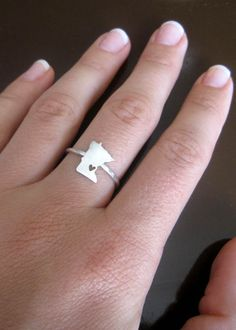 I want Texas or Oklahoma! Any State Love Ring in Sterling Silver.. Cute!