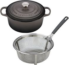 Le Creuset Signature Enameled CastIron 512Quart Round French Dutch Oven Bundle  Le Creuset 512 Quart Stainless Steel Fry Basket Oyster