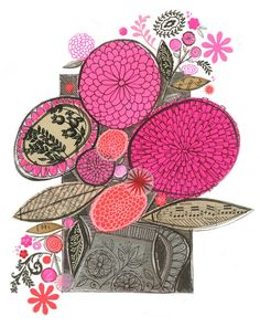 Items similar to Flo's pitcher - GICLEE PRINT, floral, botanical collage, Susan Black on Etsy Mixed Media Collage, Collage Art, Flower Collage, Floral Illustrations, Illustration Art, Collages, Susan Black, Pink Palette, Coffee Drawing