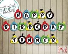 Personalized Angry Birds Birthday Banner DIY Printing