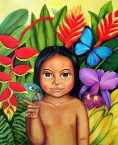 Niña indígena Mexican Artwork, Mexican Paintings, Arte Latina, Colombian Art, Mother Art, Different Art Styles, Indie Art, Paint Party, Canvas Art Prints