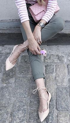 Army-Green Denim, a Striped Shirt, and Lace-Up Flats Spring Fashion, Girl Fashion, Fashion Outfits, Womens Fashion, Fashion Tips, Fashion Trends, Pink Outfits, Colourful Outfits, Stylish Outfits