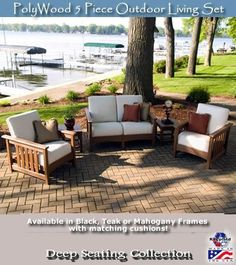POLYWOOD 5 Piece Outdoor Living Set brings the comfort of your living room to the great outdoors. This stylish and functional deep seating outdoor furniture set offers virtually no maintenance and easy care cushions. The Sunbrella fabric cushions offer su Polywood Outdoor Furniture, Patio Furniture Sets, Rustic Furniture, Garden Furniture, Antique Furniture, Royal Furniture, Luxury Furniture, House Numbers, Outdoor Seating