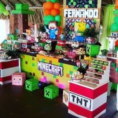 Minecraft Party Minecraft Birthday Party, 10th Birthday Parties, 7th Birthday, Birthday Ideas, Minecraft Gifts, Creeper Minecraft, Boy Sleepover, Fiesta Party, School Parties
