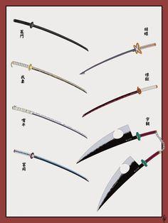 Sword Characters Kimetsu no yaiba Manga Anime, Anime Demon, Anime Art, Demon Slayer, Slayer Anime, Katana, Sword Drawing, Seven Deadly Sins Anime, Weapon Concept Art