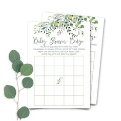 Printable Greenery Baby Shower  Bingo Game, Eucalyptus Baby Shower  Bingo Game Card, Botanic Baby Shower Bingo Game Card INSTANT DOWNLOAD Beautiful Baby Shower, Beautiful Babies, Bingo Games, Card Games, Baby Shower Bingo, Baby Owls, The Perfect Touch, Greenery, Card Stock