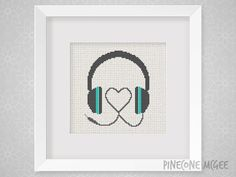 HEART MUSIC HEADPHONES counted cross stitch by PineconeMcGee