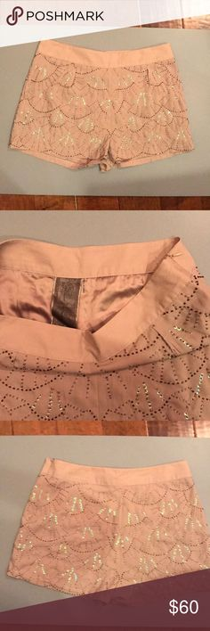 Fancy Shorts Light pink/beige shorts embellished with beads and sequins. Hidden side zipper closure. Fully lined. Polyester and spandex blend. Never worn. Perfect condition. Moon Collection Shorts