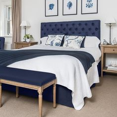 Our stunning pure navy linen buttoned bedhead captures the style and grace of classic French or Hamptons decor. It is beautifully crafted with solid oak legs. The bedhead is simply placed behind your Blue Bedroom Decor, Bedding Master Bedroom, Master Bedroom Design, Home Bedroom, Bedroom Furniture, Navy Home Decor, Navy Headboard, Navy Bedding, Hamptons Style Bedrooms