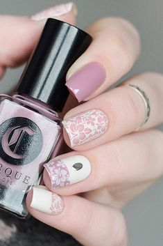 30 White Nail Designs Bridal Ideas Full Of Style ❤ white nail designs with pink flowers borsch_nails via instagram ❤ See more: http://www.weddingforward.com/white-nail-designs/ #weddingforward #wedding #bride #bridalnails #weddingmanicure #whitenaildesigns
