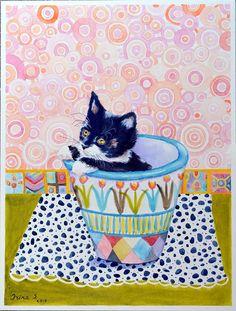 Cat in Mackenzie Childs pot Original Paintingby irinashop