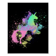 """Fabulous rainbow color splash mythical unicorn which pops on a black background; with a neon light effect text graphic """"Unicorn"""" trough it."""