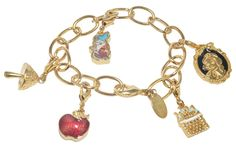 Gold Plated bracelet with Snow White themed charms Bracelet has large links for attaching additional charms Lobster clasp closure Measures approx. long Gold Plated bracelet with Snow White themed charms Not intended for children 13 yrs of age and younger Gold Plated Bracelets, Bangle Bracelets, Bangles, Necklaces, Disney Couture Jewelry, Snow White, Charmed, Gifts, Stuff To Buy