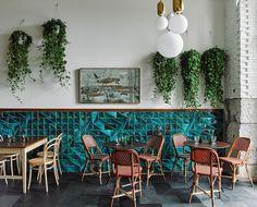 restaurant wall Tejo tiles in Jade color at El Italiano restaurant Decor, Hotel Interior Design, Coffee Room, Coffee Shop Decor, Coffee Shop Interior Design, Wall Tiles, Restaurant Tiles, Cafe Bar Design, Stools For Kitchen Island