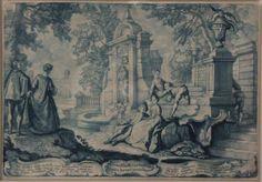 """KOCH Johann Philipp (c.1716-1796), """"Scènes animées dans un parc"""""""
