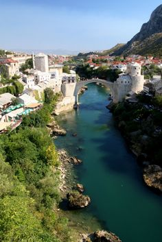 Neretva River and Stari Most in Mostar / Bosnia and Herzegovina