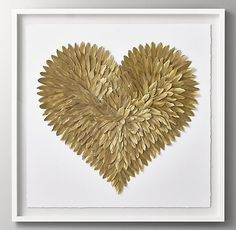 RH Baby & Child's Feathered Heart - Gold:Delicate yet strong, feathers provide an ideal medium for the creation of our striking wall art, evoking the heart's complexity and the tender yet fierce nature of love. Girl Bedroom Walls, Teen Girl Bedrooms, Girl Room, Baby Room, Wood Shadow Box, Shadow Box Frames, Luxury Nursery, Rh Teen, Restoration Hardware Baby