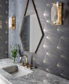 25 trendy bathroom vanity mirror and lights powder rooms Bathroom Colors, Small Bathroom, Bathroom Ideas, Bathroom Inspiration, Bathroom Mirror Lights, Wall Sconces, Unique Mirrors, Amazing Bathrooms, Light Decorations