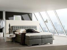 Luxus Boxspringbett MADISON 180x200 cm grau Microvelour inkl