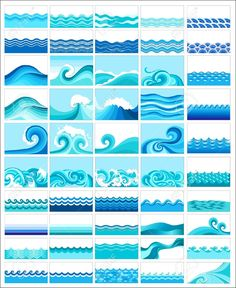 Collection Of Marine Waves, Stylized Design Royalty Free Cliparts, Vectors, And Stock Illustration. Pic 11251785.