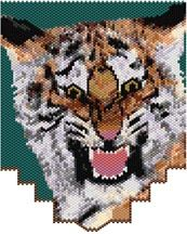 Snarling Tiger. This pattern can be used for a loom-style necklace, or to sew onto other items. Add lots of fringe with leaf beads and flower beads for a jungle feel, add a multi strand strap. Graph provided in color code mode with numbers and quantities of delicas needed, thumbnail. 32 colors Stitch:Peyote  Beads Used:Delica