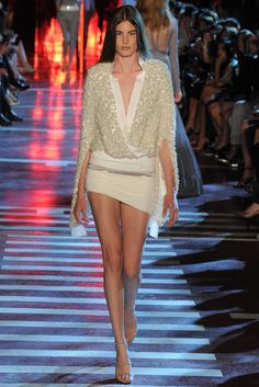 Alexandre Vauthier | Fall 2014 Couture | 11 White embellished long sleeve cape top and mini skirt
